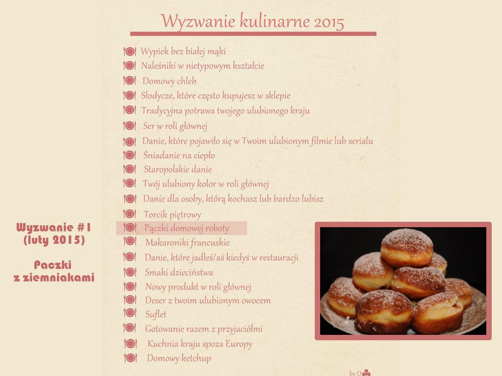 Wyzwanie kulinarne 2015 Pączki domowej roboty Pączki z ziemniakami