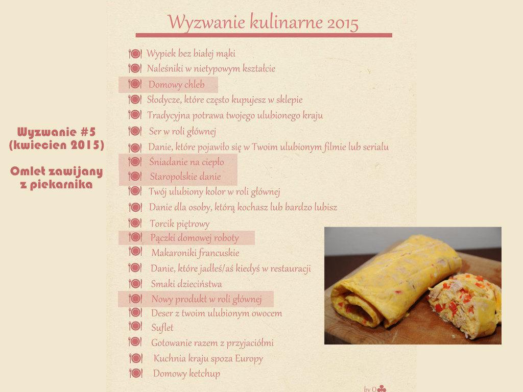 Wyzwanie kulinarne 2015 Śniadanie na ciepło Omlet zawijany z piekarnika